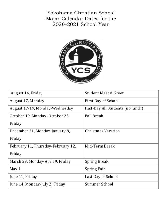 Ku Spring 2022 Calendar.Yokohama Christian School Major Calendar Dates For S Y 2020 2021 Yokohama Christian School
